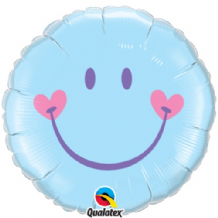 "Smiley Baby Blue Foil Balloon (18"") 1pc"